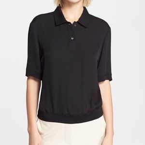 Theory Curza Black Silk Short Sleeve Polo Blouse